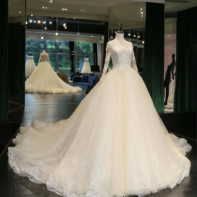 Real Samples Ball Gown Wedding Dresses 2017 Bridal Dress Sheer Long Sleeves Vestidos De Noiva Cathedral