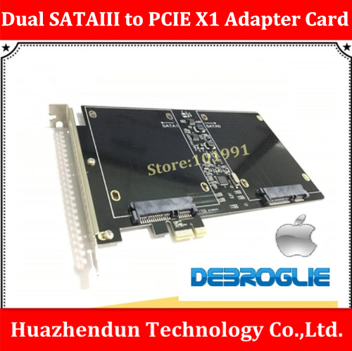 New DEBROGLIE  FLY your SSD DUAL SATAIII to PCI-E X1 SSD Card  for MAC with M3 Screw-8pcs  DB-23561  OSX10.8~10.12  High-speed