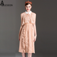 Casual New Dresses 2017 Summer Fashion Vintage High Quality Lace Hollow Out Cloak Shawl Turn-Down Collar Long Charming Dress
