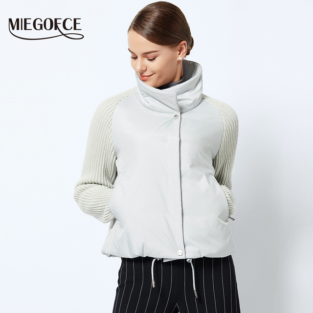 MIEGOFCE 2018 Short Women's Coat And thin cotton padded  jacket Spring Women's Jacket Stylish With Collar New Spring Collection