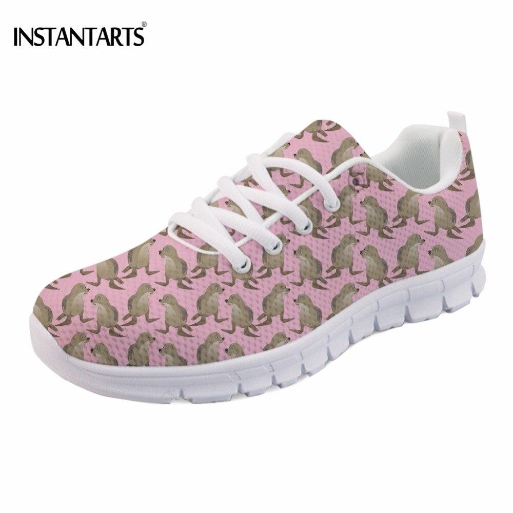 INSTANTARTS Cool Animal Seal Printed Students Spring Mesh Flats Shoes Fashion Women Sneakers Teen Girls Lace-up Walking Footwear
