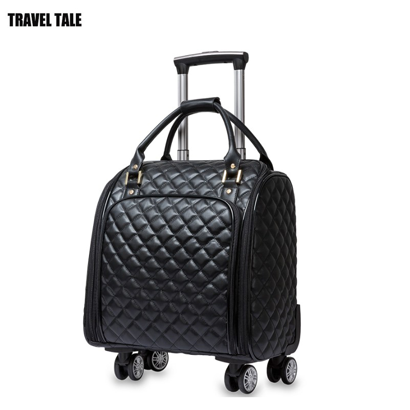 Travel Tale 2018 New Women Carry On Spinner Hand Luggage Small Cabin Leather Trolley Bag Wheel