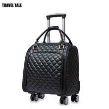 1ef988d395 VIAGGI RACCONTO 2018 nuove Donne bagaglio a spinner bagaglio a mano trolley da  viaggio in pelle