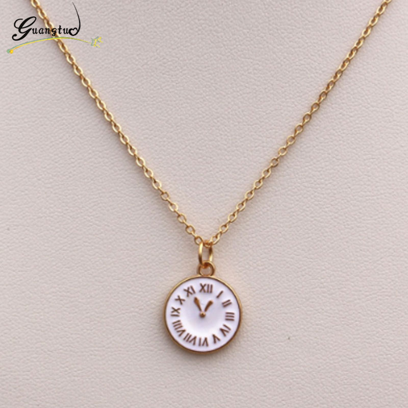 Classic Time Clock Shape Pendant Necklace For Women Girl Bijoux Gift Fashion Jewelry Chains Necklaces Punk Collares