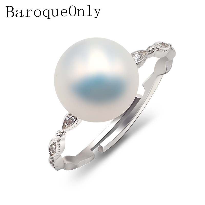BaroqueOnly 100% Genuine Freshwater Pearl Ring Elegant  Ring For Women, Fashion 925 Sterling Silver Jewelry