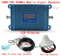 LCD Display GSM CDMA 980 850Mhz Signal Booster Repeater Amplifier Coverage 1000 Sqm 9 Units Yagi
