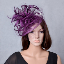 693c8396465 2019 NEW plum purple sinamay fascinator wedding hats for women with  feathers and veil for races