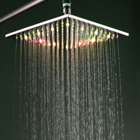 X15241 Luxury 10 Inch No Need Battery Brass Led Light Square Rainfall Shower Head