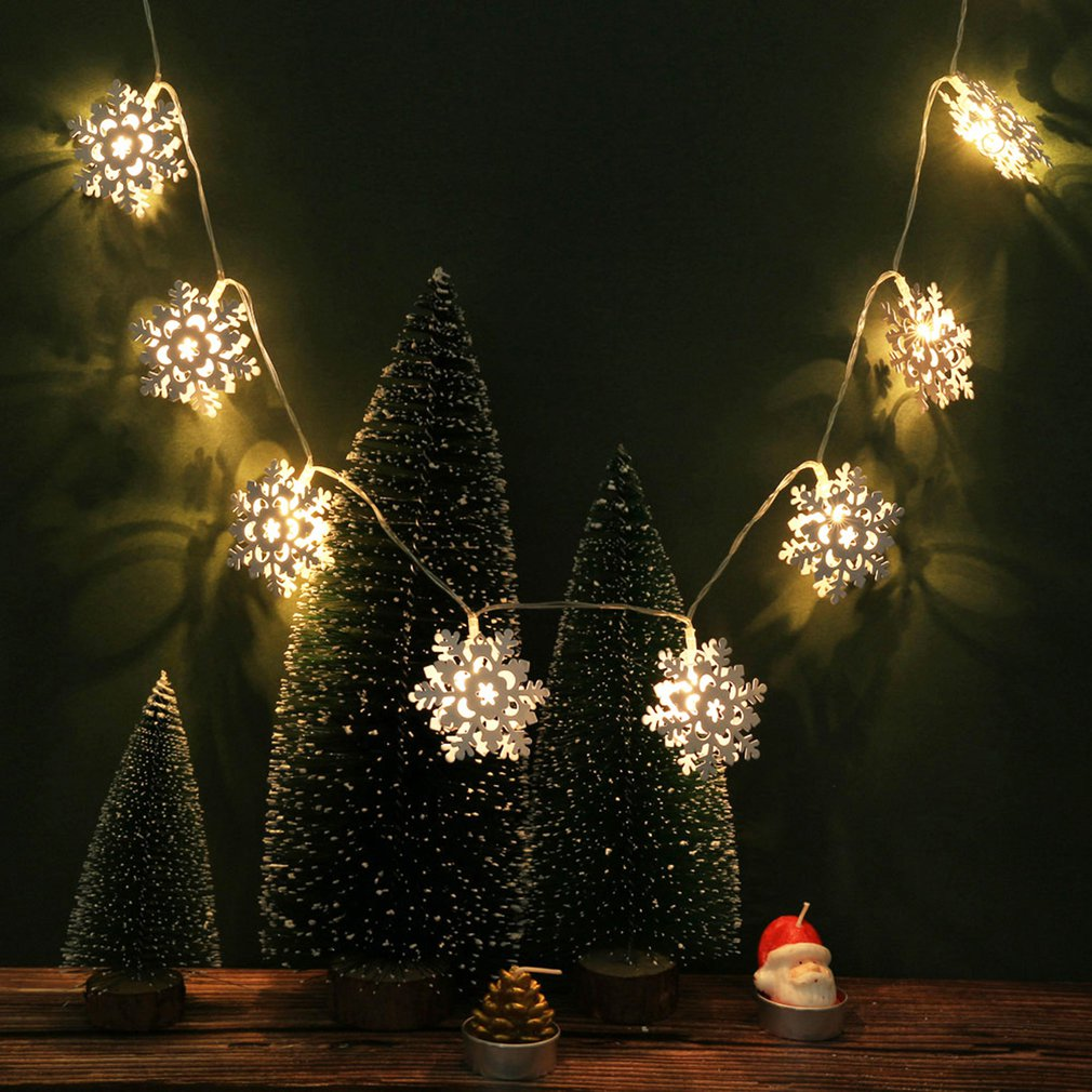 double-sided snowflake Christmas lights string warm white Home party interior lights