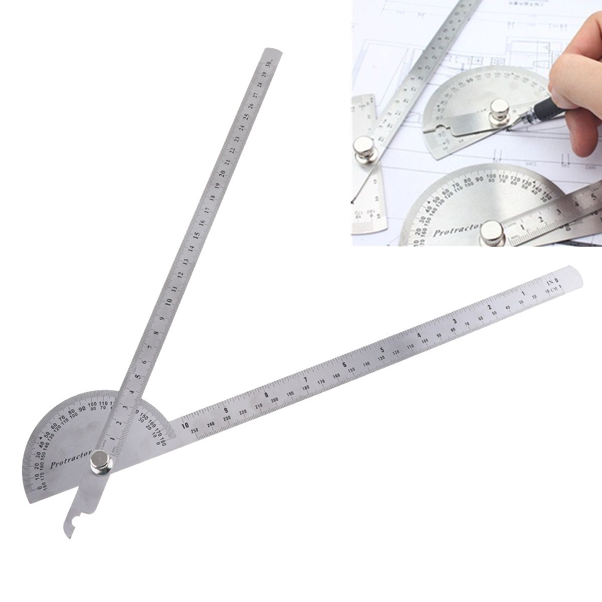 180 Degree 250 x 300mm Stainless Steel Adjustable Double-arm Angle Ruler with Round Head Rotary Protractor Tool for Measurement