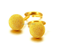 999 Solid 24K Yellow Gold Stud Earrings/ Women's Sand Finish Ball Stud/ 2.05g