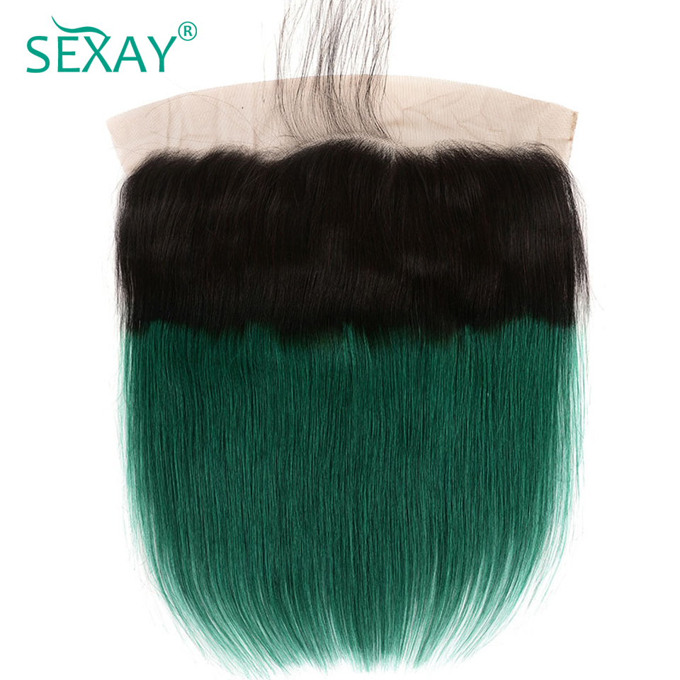SEXAY 1b/Green Ombre Brazilian Straight Hair Pre Plucked Lace Frontal With Baby Hair Non Remy Hair Dark Roots Ombre Lace Frontal