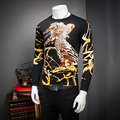 Quality Sweater Men 2016 Autumn New Long Sleeve Eagle Print Oversized Sweater Slim Fit Casual Pullovers Men Knitwear Male 4XL-M
