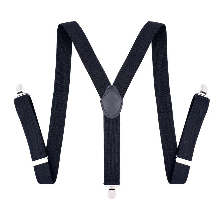 OLOME120cmx3.5cm Black Suspenders Men Women 3 Clip Adjustable Suspenders For Pants Braces
