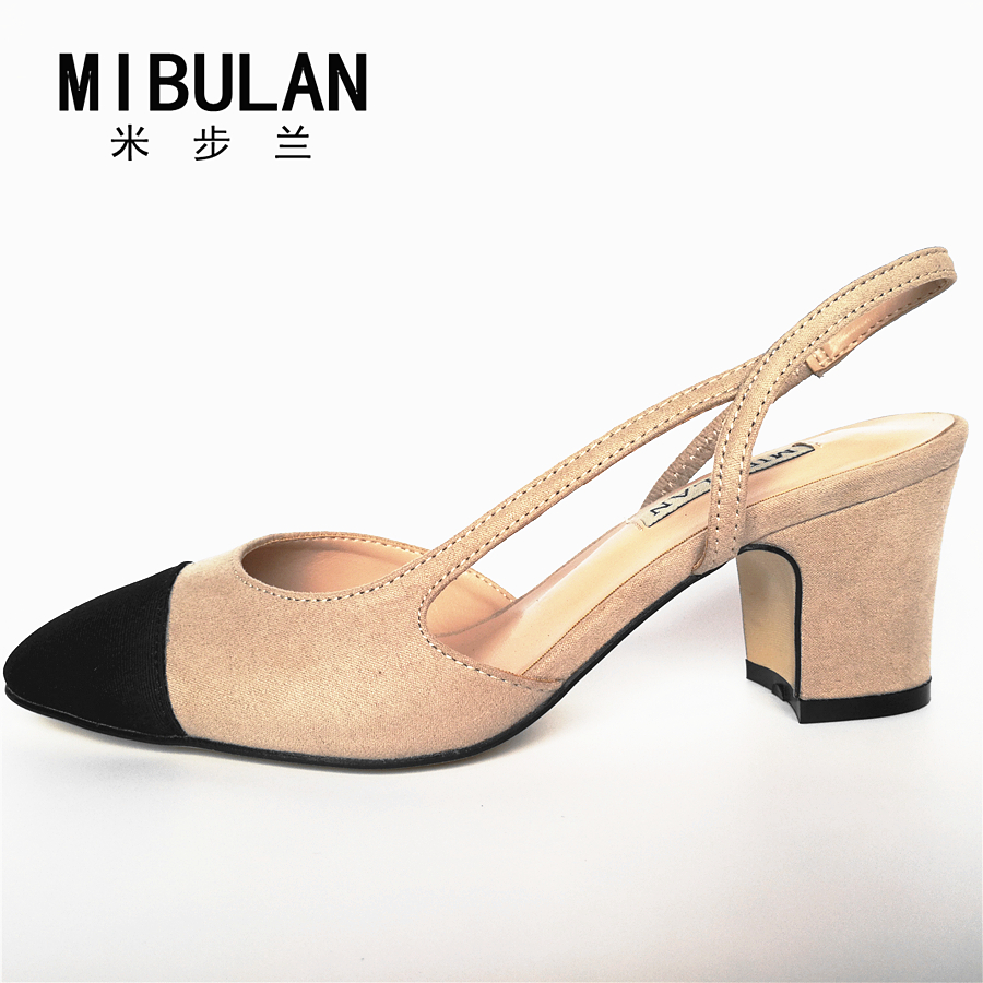 Free shipping 2018 womens color matching suede round toe square heel sandal heels, female big size classic beige color sandalsFree shipping 2018 womens color matching suede round toe square heel sandal heels, female big size classic beige color sandals