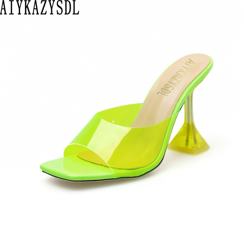 AIYKAZYSDL Transparent Sandals Slippers Neon Toe-Shoes Mules Slides Crystal Square Clear