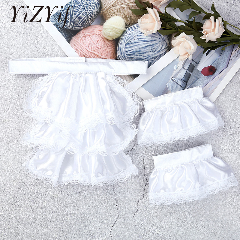 YiZYiF Fake Collar For Kids/Adults Victorian Lace Jabot And Cuffs Set Stage Party Colonial Pirate Steampunk Costume Accessory