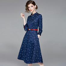 Letter print stand neck single breasted jeans dress 2018 new wrist sleeve women autumn a line long dress striped velvet stand neck shirts dress 2018 new full sleeve single breasted women autumn long dress