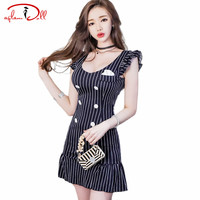 Blue Striped Double Breasted Ruffles Sleeve Peplum Sexy Mini Dress Bodycon Women Club Vestidos 2017