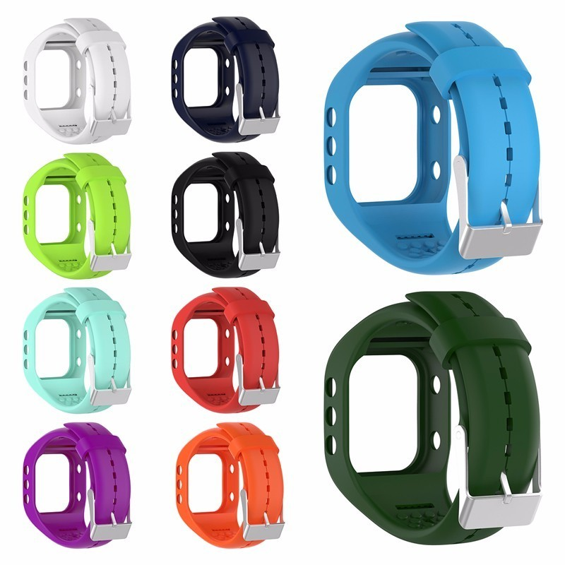 Colorful Smartwatch Straps Soft Silicone Watchband Replacement With Metal Buckle For Polar A300 Smart Watch