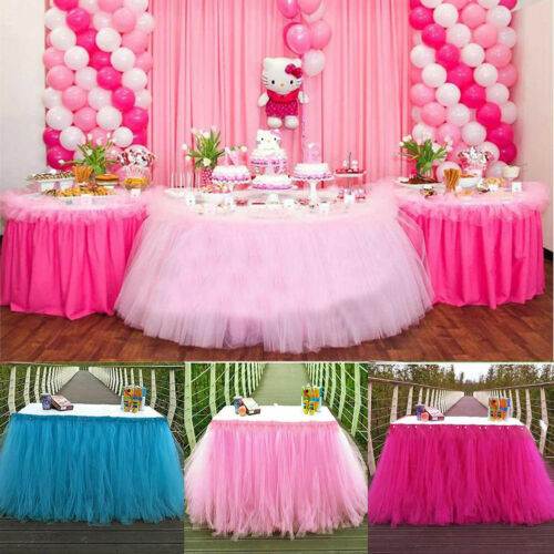 Image 4 - Tulle TUTU Table Skirt Tableware Wedding Party Xmas Baby Shower Birthday Decor-in Table Skirts from Home & Garden