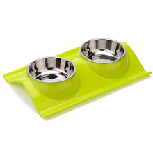 Candy-colored plastic pet bowl double dog bowl stainless steel dog bowl stainless steel dog bowl silver size l 1000ml
