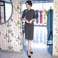 New Vintage Print Floral Traditional Chinese Women Dress Sexy Cotton Qipao Lady Mandarin Collar Slim Cheongsam M 4XL