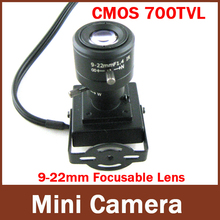 "Mini Indoor Camera 9-22mm Manual lens 1/4"" CMOS HD 700TVL Security Wired Color CCTV Camera"