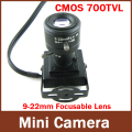 Mini Indoor Camera 9-22mm lente Manual de 1/4 ''CMOS HD 700TVL Segurança Fios de Cores CCTV Camera
