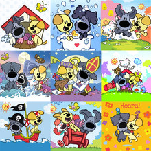 "Voll Platz/Runde Bohrer 5D DIY Diamant Malerei ""Cartoon Woezel Pip"" 3D Diamant Stickerei Kreuz Stich Mosaik strass Geschenk(China)"