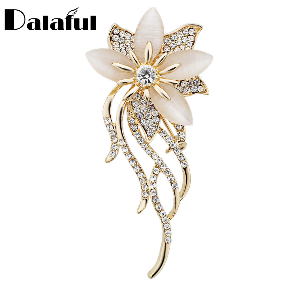 Noble Opal Crystal Flower Brooch Pin Garment Tilbehør Smykker For Wedding Bridal Fashionable Brosjer Z020