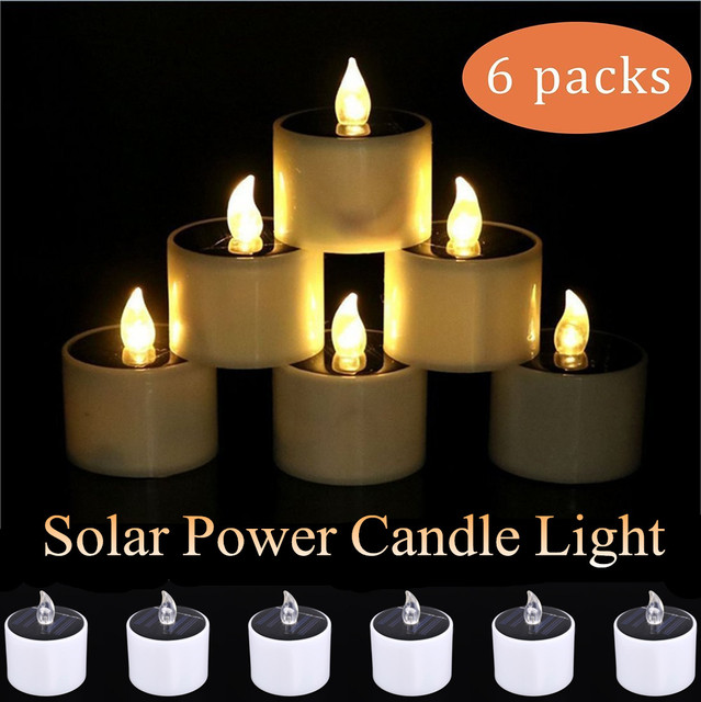 Solar Power LED Light Candles-flameless Electronic Lamp Nightlight Powered-plastic Solar Candle for Outdoor Camping Emergency