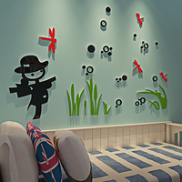 Dragonfly And Scarecrow Pastoral Design Acrylic Wall Stickers Solid Sticker DIY Living Room Home Decorations