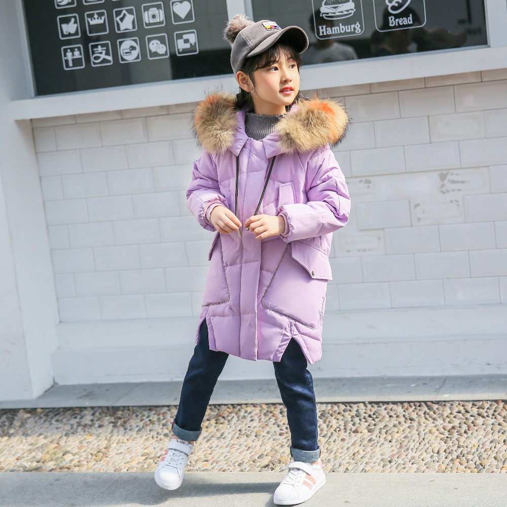 XYF8817 Boys Girls Winter Down Jackets Kids Plaid Long Sleeve Winter Jacket Coat Warm Outerwear Long Coat 85% White Duck Down long sleeve button down plaid midi flannel shirt dress