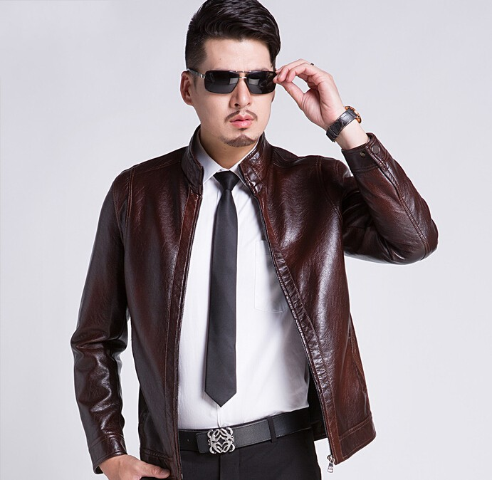 Hot New Autumn Winter Mens Leather Jackets Sheepskin Leather clothes Motorcycle Coats Brand Business Men Clothing M-XXXL