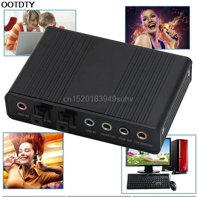 High Performance CM6206 Chips USB2.0 <font><b>Sound</b></font> Card 6 External Optical Audio Card Converter SPDIF for PC Computer