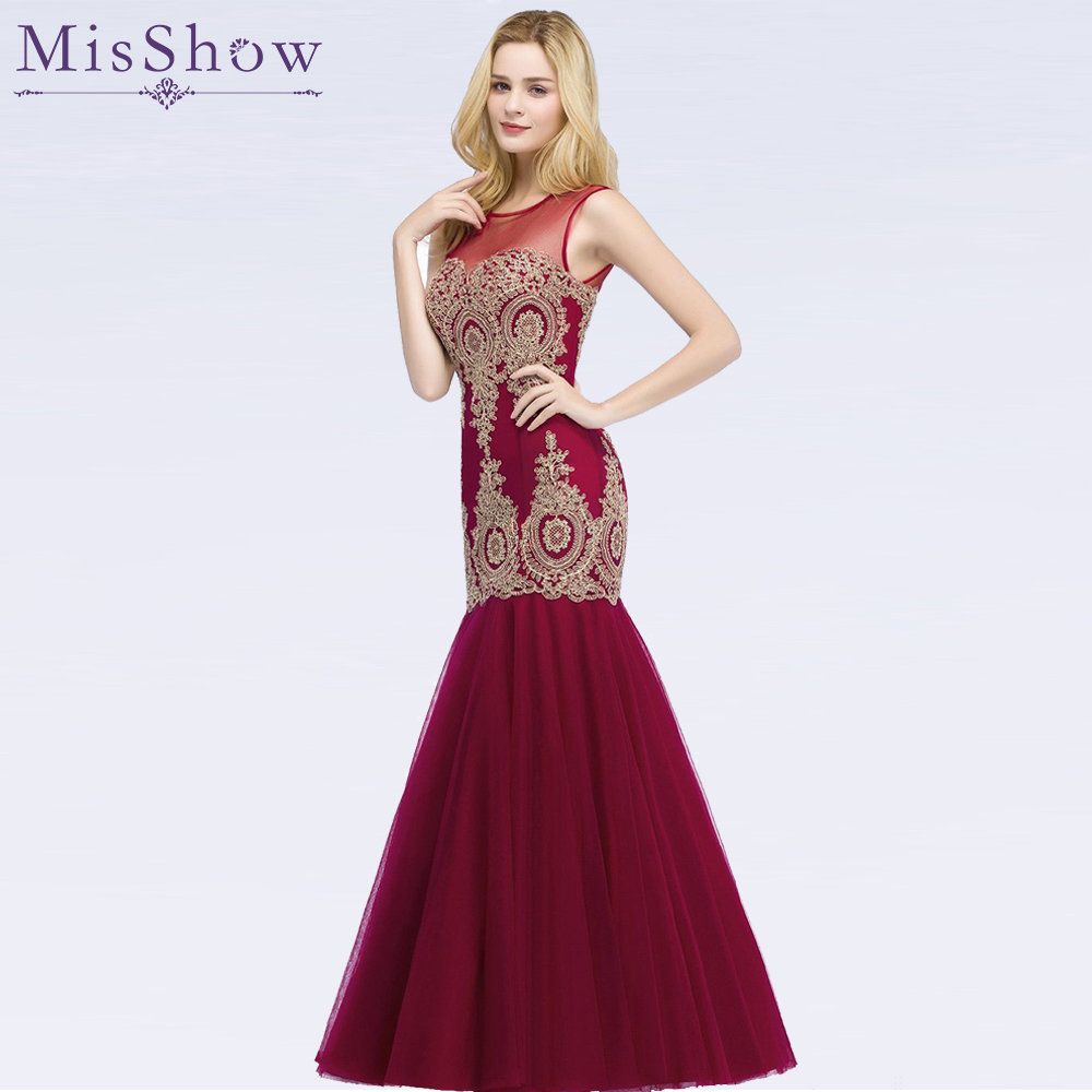 In Stock Evening   Dress   Long 2019 Applique Party Formal   Dress   Stunning Tulle Mermaid   Prom     Dresses   Robe De Soiree vestido de festa