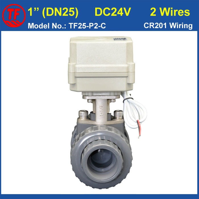 DC24V CR201 Wiring BSP/NPT 1'' PVC DN25 Electric Actuated Ball Valve TF25-P2-C10NM On/Off 15 Sec Metal Gear For Water Control 2 way pvc dn25 motorized ball valve bsp npt 1 ac110 230v 4 7wires 10nm electric ball valve on off 15 sec metal gear ce