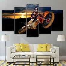 Sala de estar arte da parede decoração para casa fotos hd impresso 5 painel melhor ação motocross pintura moderna na lona cartazes quadro