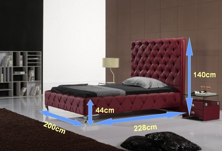 diamond button tufted high back contemporary modern leather soft bed King size bedroom furniture Made in China dark brown color real genuine leather bed soft bed double bed king size bedroom home furniture modern night stool
