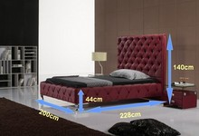 diamond button tufted high back contemporary modern leather soft bed King size bedroom furniture Made in