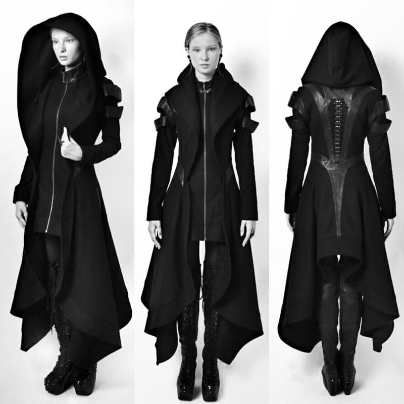 Kühlen Frauen Cosplay Mantel Unregelmäßigen Mit Kapuze Leder Patchwork Tops Cosplay Avant Lange Mantel Gothic Ninja Hero Kleidung Warme Sexy Bla