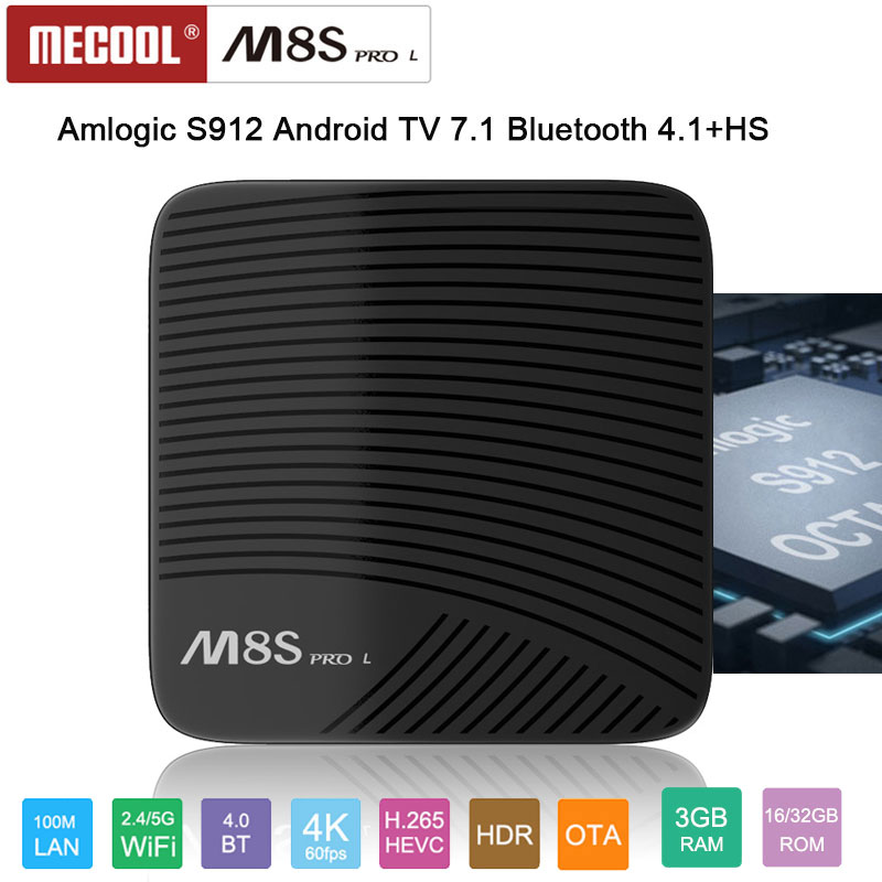 MECOOL S912 M8S PRO L Amlogic Octa núcleo 3 gb gb android 7.1 caixa de tv 4 32 k 1080 p 2.4/5 3gwifi BT4.1 H.265 BT4.1 + HS Youtube Facebook