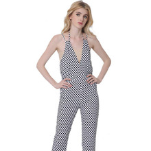 Womens Elegant Vintage Dot Pocket Tunic Slim Sleeveless Casual Work Office Party Sheath Fitted Romper Jumpsuit
