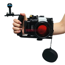 Meikon 40m/130ft Underwater Camera Housing for Sony DSC RX100 IV  + Red Underwater Filter (wet 67mm) + Diving Handle