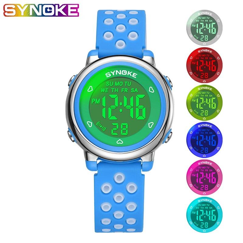 SYNOKE Kids Digital Watch Colorful Light Luminous Fashion Children Boys Girl Sports LED Display Alarm Swim Waterproof Watches
