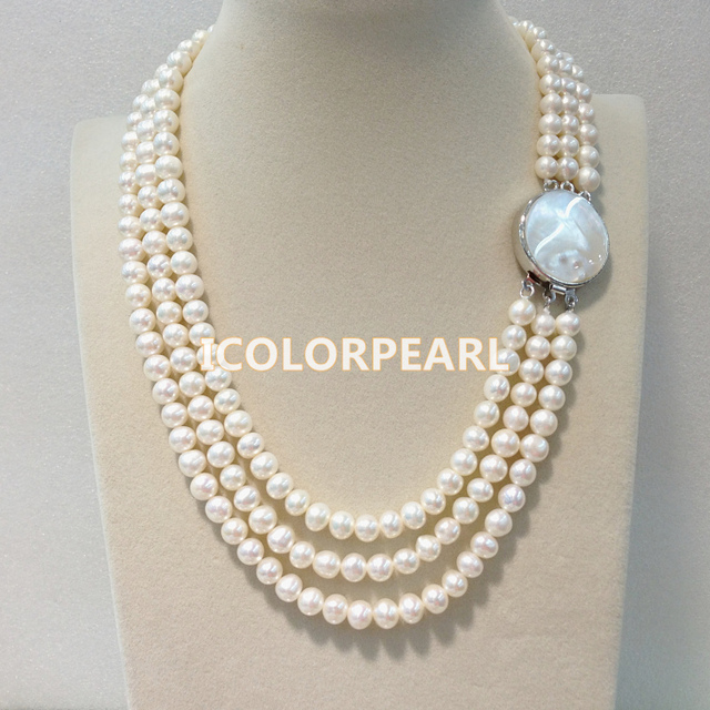 45-50cm Three-Row 7-8mm Nearround White Freshwater Pearl Necklace With A Southsea Mother Pearl Shell Clasp