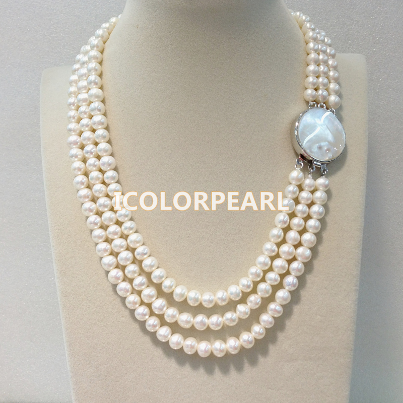 WEICOLOR 45-50cm Three-Row 6-7mm Nearround White Freshwater Pearl Necklace With A Southsea Mother Pearl Shell ClaspWEICOLOR 45-50cm Three-Row 6-7mm Nearround White Freshwater Pearl Necklace With A Southsea Mother Pearl Shell Clasp