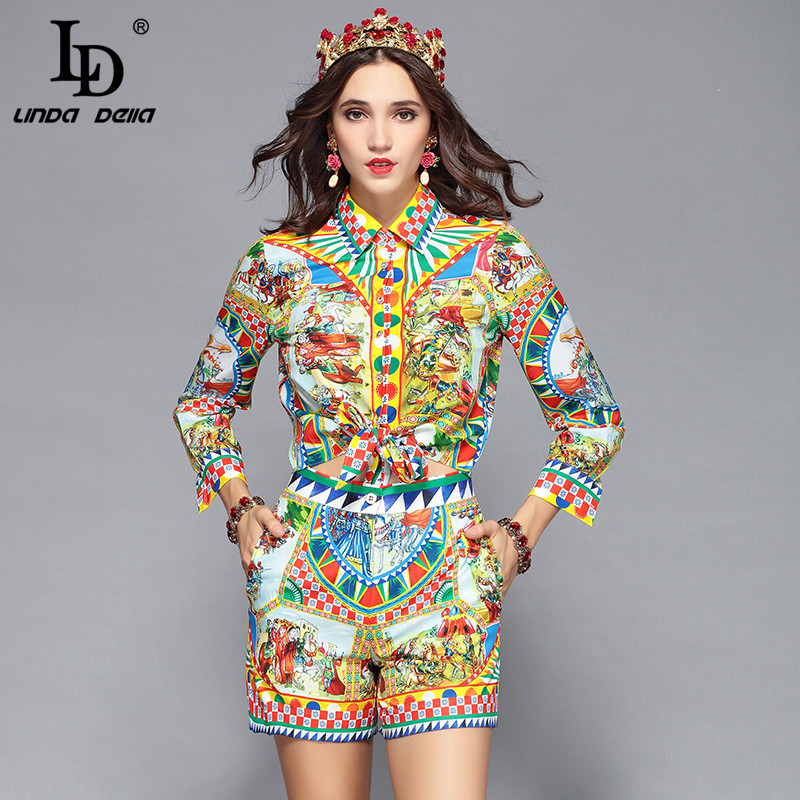 97d2ffc322 LD LINDA DELLA Runway Designer Casual Holiday Vacation Shorts Set Women's  Long Sleeve Print Blouses + Shorts Two Pieces Set Suit - Kuko Fashion Store