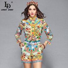 LD LINDA DELLA Runway Designer Casual Holiday Vacation Shorts Set Womens Long Sleeve Print Blouses + Shorts Two Pieces Set Suit